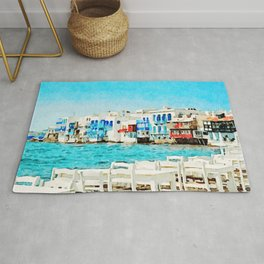 Watercolor Little Venice in Mykonos Rug