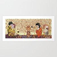 klimt Art Prints featuring Kokeshis Klimt by Pendientera