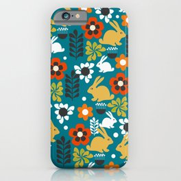 Whimsical bunny garden iPhone Case