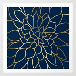 Floral Prints, Line Art, Navy Blue and Gold, Artist Prints Art Print