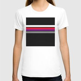 Team colors...red/purple ,gray and white stripe on black T-shirt
