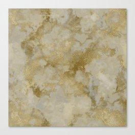 Shabby vintage white faux gold stylish marble Canvas Print