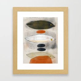 Three Fish with Blue and Speckled Stones Framed Art Print