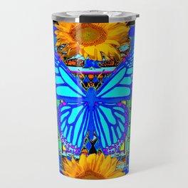Blue Butterfly Gold Sunflowers design Travel Mug
