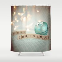 merry christmas Shower Curtains featuring Merry Christmas by Yuliya