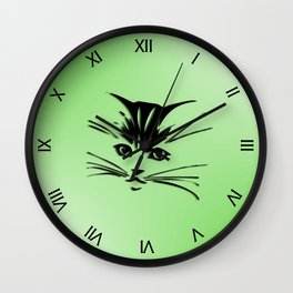 Green Cat Face Wall Clock