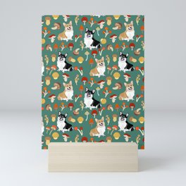 Happy Corgis In Fall Forest Searching For Mushrooms I - Teal  Mini Art Print