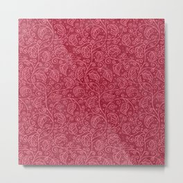 Red Leaf Pattern Metal Print