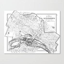 Vintage Map of Richmond Virginia (1884) BW Canvas Print