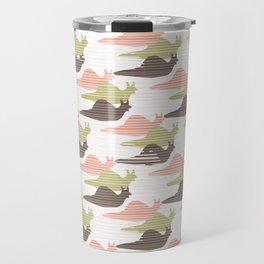 Pink and Green Snail Race Silhouette Seamless Travel Mug