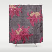 stitch Shower Curtains featuring *Cross Stitch* by Mr and Mrs Quirynen