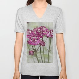 Pink Flowers in the Mist Unisex V-Neck
