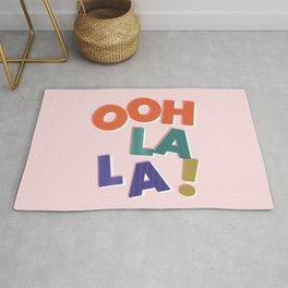OOH LA LA! colorful french typography Rug