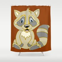 rocky Shower Curtains featuring Rocky Raccoon by J&C Creations