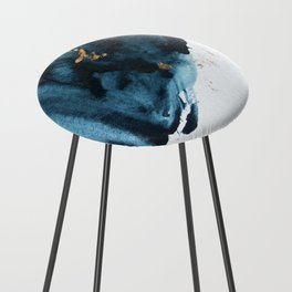 Sapphire and Gold Abstract Counter Stool