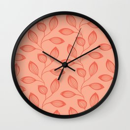 Climbing Leaves In Two Tone Living Coral Wall Clock
