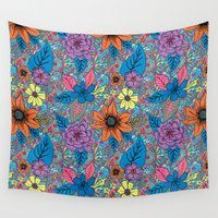 70s Wall Tapestries featuring 70s floral by Lara Gurney