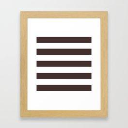Old burgundy - solid color - white stripes pattern Framed Art Print