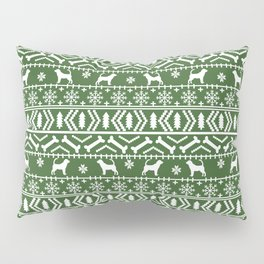 Bloodhound fair isle christmas sweater green and white minimal dog silhouette holiday gifts Pillow Sham