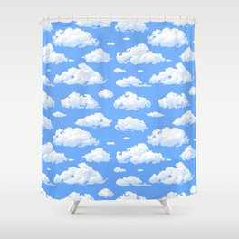 White fluffy clouds pattern Shower Curtain