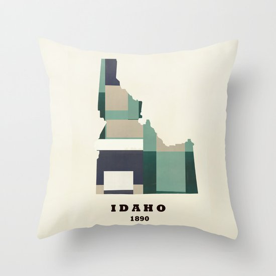idaho state map modern  Throw Pillow