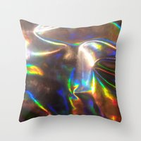 holographic Throw Pillows featuring Holographic by viviennart