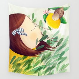 A girl with a bird, nature lover Wall Tapestry