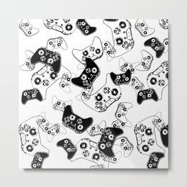 Video Game Black on White Metal Print