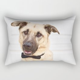 Beautiful rescue dog wearing a bow tie! Rectangular Pillow