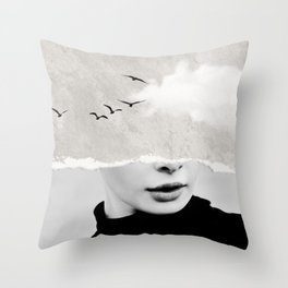minimal collage /silence Throw Pillow