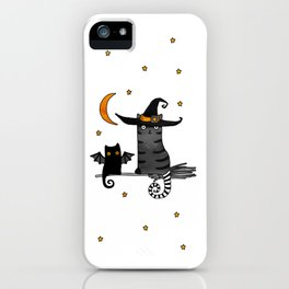 2 cats – Bat and Wizard on a broomstick for Halloween iPhone Case