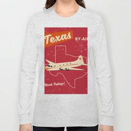 Texas By air vintage poster Long Sleeve T-shirt