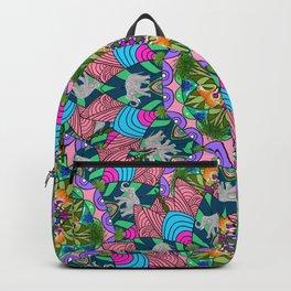 Mandala pattern,tiger,elephant tropical plants pattern  Backpack