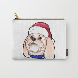 Shih Tzu Dog Christmas Hat Present Carry-All Pouch