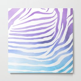 Zebra Pattern - Purple & Turquoise Gradient Metal Print