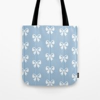 bows Tote Bags featuring Bows by Pink Berry Patterns