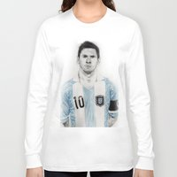 messi Long Sleeve T-shirts featuring Lio Messi by Alan Myers