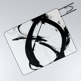Brushstroke 7: a minimal, abstract, black and white piece Picnic Blanket