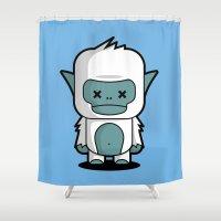 yeti Shower Curtains featuring Yeti by m. arief (mochawalk)
