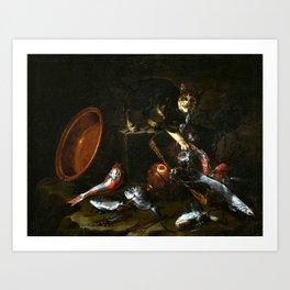 Giuseppe Recco A Cat Stealing Fish Art Print