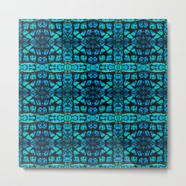 Blue Tile Pattern Metal Print