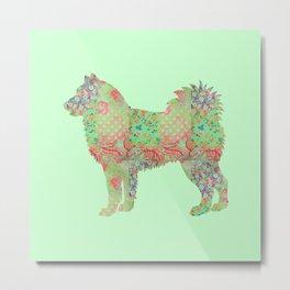 Alaskan Malamute Dog Vintage Floral Pattern Pastel Mint and Coral Metal Print