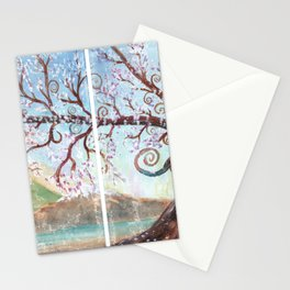 Fantasy Tree Watercolor Art Stationery Cards