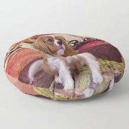 Ribbons, Bells And Cavalier King Charles Spaniel Floor Pillow