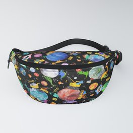 Watercolor Dinosaur Space Construction Fanny Pack