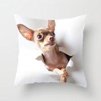 chihuahua Throw Pillows featuring Chihuahua by Brigitta
