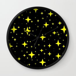 Bright Yellow Stars in Space , Cristmas Stars Wall Clock