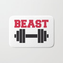 Beast Barbells Gym Quote Bath Mat