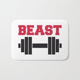 Beast Barbells Gym Quote Bath Mat