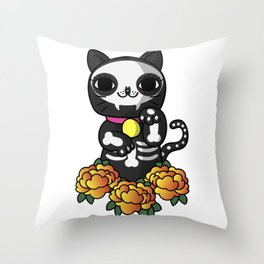 Halloween Skeleton Lucky Cat Throw Pillow